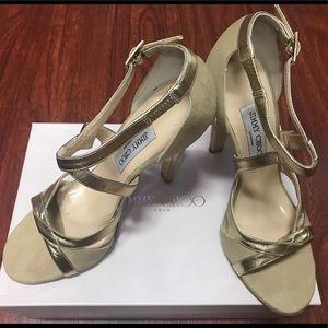 Size 39 Beige/Gold Jimmy Choo Heels